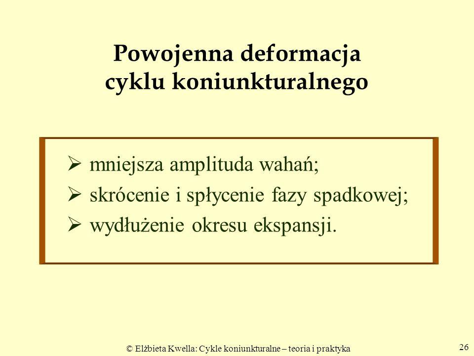 © Elżbieta Kwella: Cykle koniunkturalne – teoria i praktyka 26 Powojenna deformacja cyklu koniunkturalnego  mniejsza amplituda wahań;  skrócenie i s