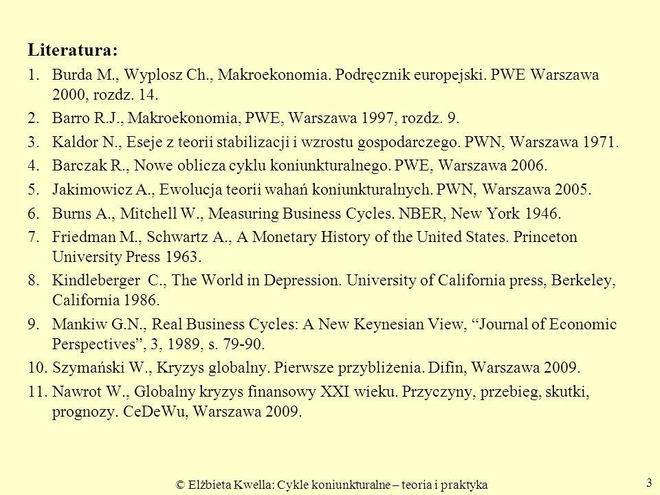 © Elżbieta Kwella: Cykle koniunkturalne – teoria i praktyka Literatura: 1. 1. Burda M., Wyplosz Ch., Makroekonomia. Podręcznik europejski. PWE Warszaw