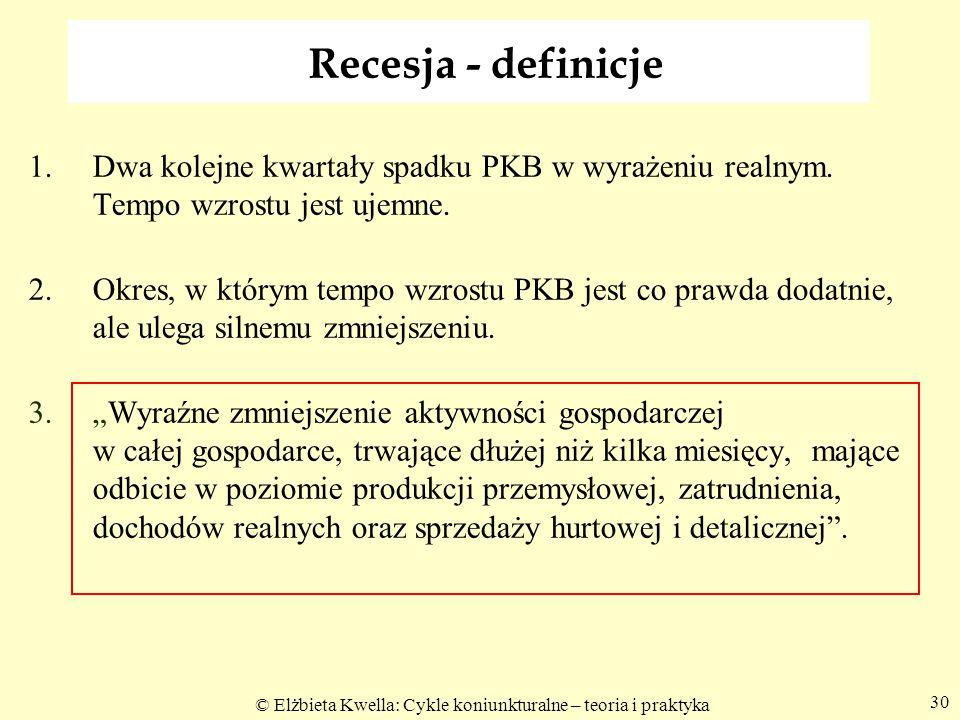 © Elżbieta Kwella: Cykle koniunkturalne – teoria i praktyka 30 Recesja - definicje 1.Dwa kolejne kwartały spadku PKB w wyrażeniu realnym. Tempo wzrost