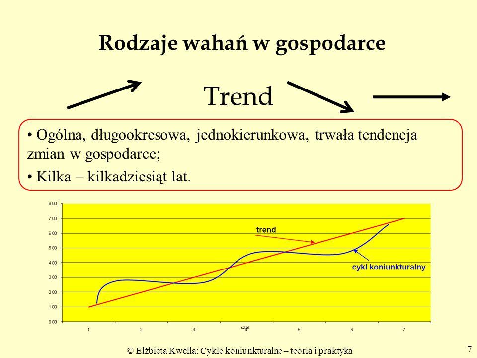© Elżbieta Kwella: Cykle koniunkturalne – teoria i praktyka 7 Trend Ogólna, długookresowa, jednokierunkowa, trwała tendencja zmian w gospodarce; Kilka
