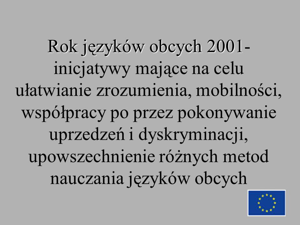Rok języków obcych 2001 Rok języków obcych 2001- inicjatywy mające na celu ułatwianie zrozumienia, mobilności, współpracy po przez pokonywanie uprzedzeń i dyskryminacji, upowszechnienie różnych metod nauczania języków obcych