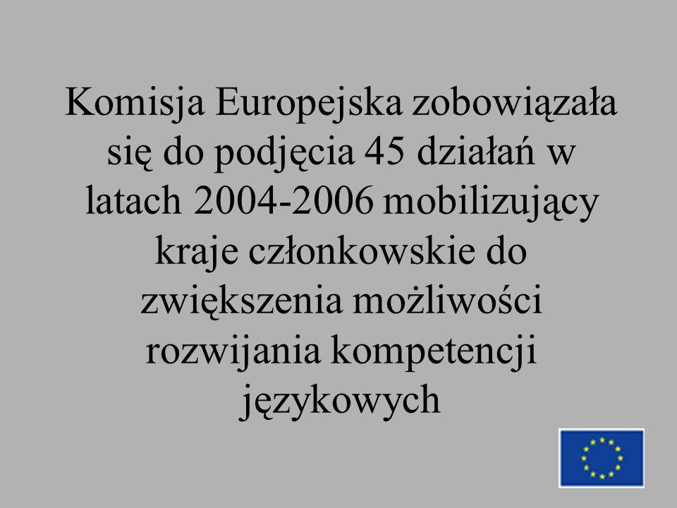 Komisja Europejska zobowiązała się do podjęcia 45 działań w latach 2004-2006 mobilizujący kraje członkowskie do zwiększenia możliwości rozwijania kompetencji językowych