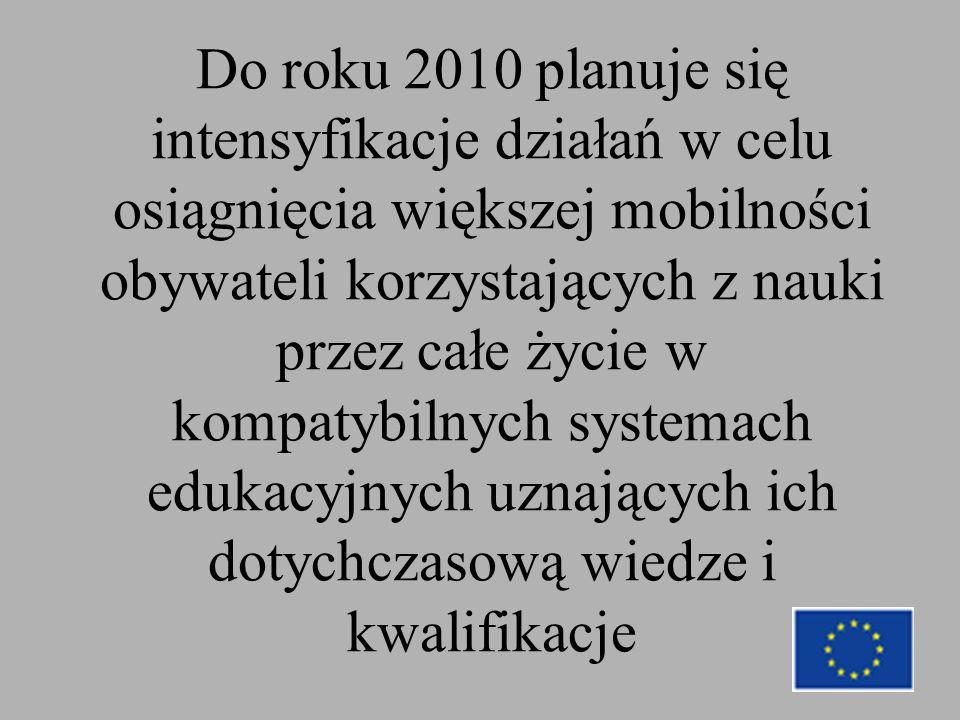Do roku 2010 planuje się intensyfikacje działań w celu osiągnięcia większej mobilności obywateli korzystających z nauki przez całe życie w kompatybilnych systemach edukacyjnych uznających ich dotychczasową wiedze i kwalifikacje
