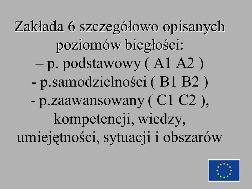 Zakłada 6 szczegółowo opisanych poziomów biegłości: Zakłada 6 szczegółowo opisanych poziomów biegłości: – p.