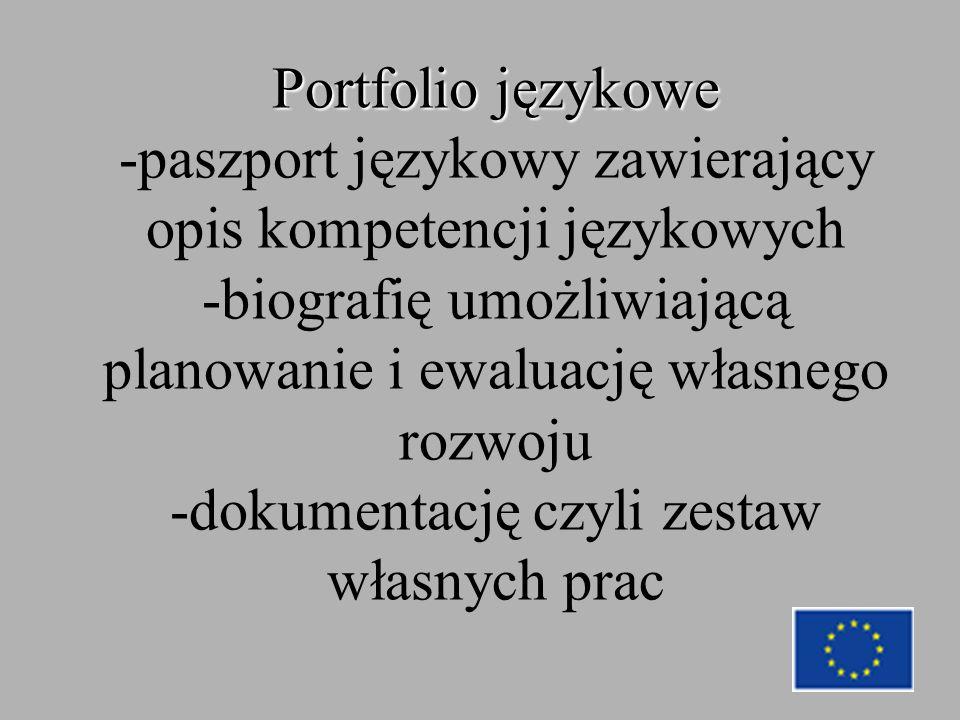 Portfolio językowe Portfolio językowe -paszport językowy zawierający opis kompetencji językowych -biografię umożliwiającą planowanie i ewaluację własnego rozwoju -dokumentację czyli zestaw własnych prac