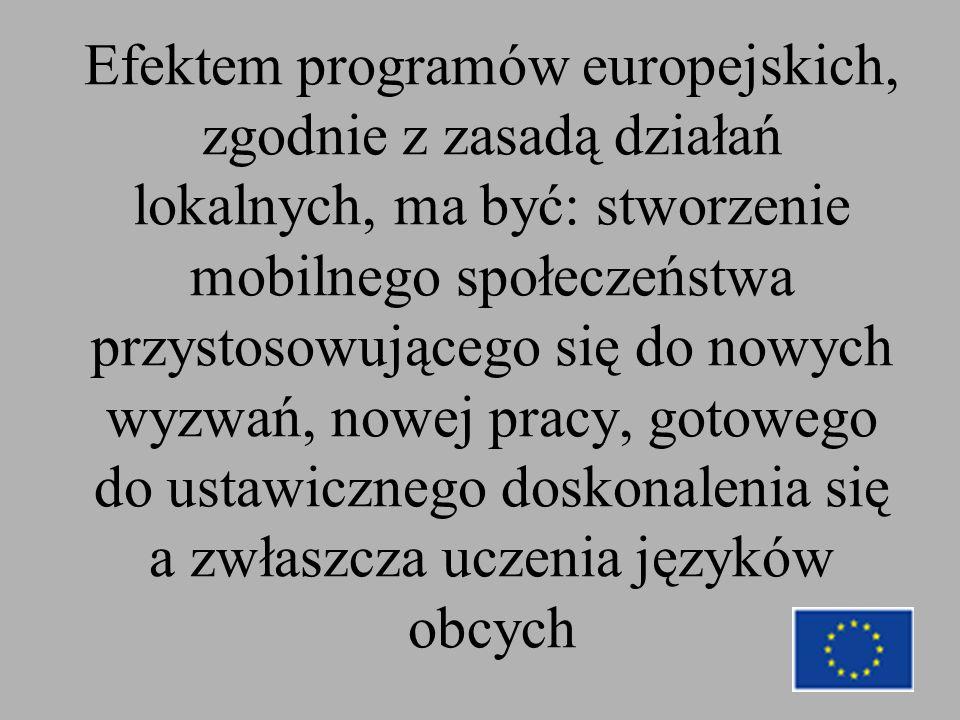 Efektem programów europejskich, zgodnie z zasadą działań lokalnych, ma być: stworzenie mobilnego społeczeństwa przystosowującego się do nowych wyzwań, nowej pracy, gotowego do ustawicznego doskonalenia się a zwłaszcza uczenia języków obcych