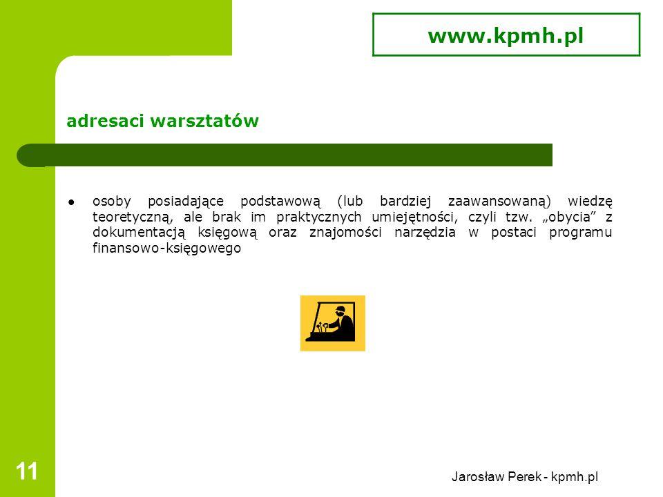 Jarosław Perek - kpmh.pl 11 adresaci warsztatów osoby posiadające podstawową (lub bardziej zaawansowaną) wiedzę teoretyczną, ale brak im praktycznych umiejętności, czyli tzw.