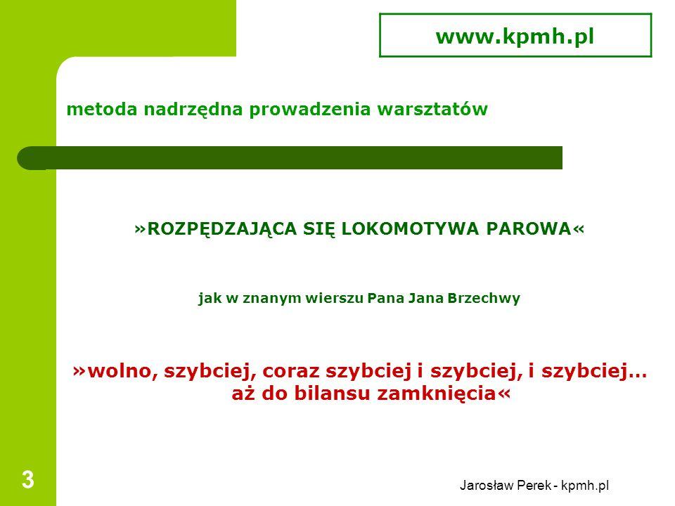 Jarosław Perek - kpmh.pl 3 metoda nadrzędna prowadzenia warsztatów »ROZPĘDZAJĄCA SIĘ LOKOMOTYWA PAROWA« jak w znanym wierszu Pana Jana Brzechwy »wolno, szybciej, coraz szybciej i szybciej, i szybciej… aż do bilansu zamknięcia« www.kpmh.pl
