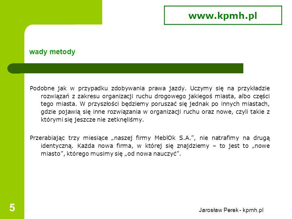 Jarosław Perek - kpmh.pl 5 wady metody Podobne jak w przypadku zdobywania prawa jazdy.