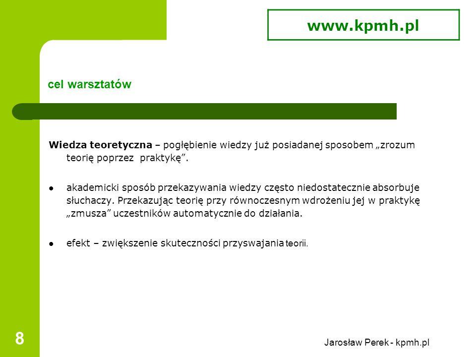 """Jarosław Perek - kpmh.pl 19 dynamika zajęć warsztatowych ć.d zagadnienia z miesiąca grudnia, to już jest dynamika – """"szybciej, i szybciej ."""