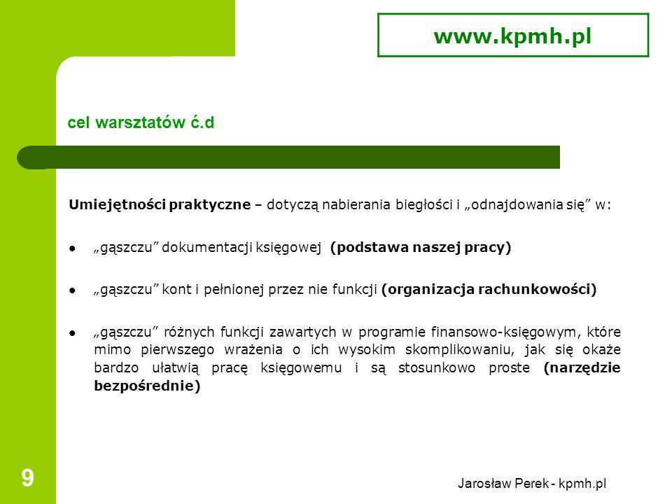 """Jarosław Perek - kpmh.pl 20 zawartość merytoryczna warsztatów Realizacja programu warsztatów przebiega w """"sposób naturalny , tzn."""