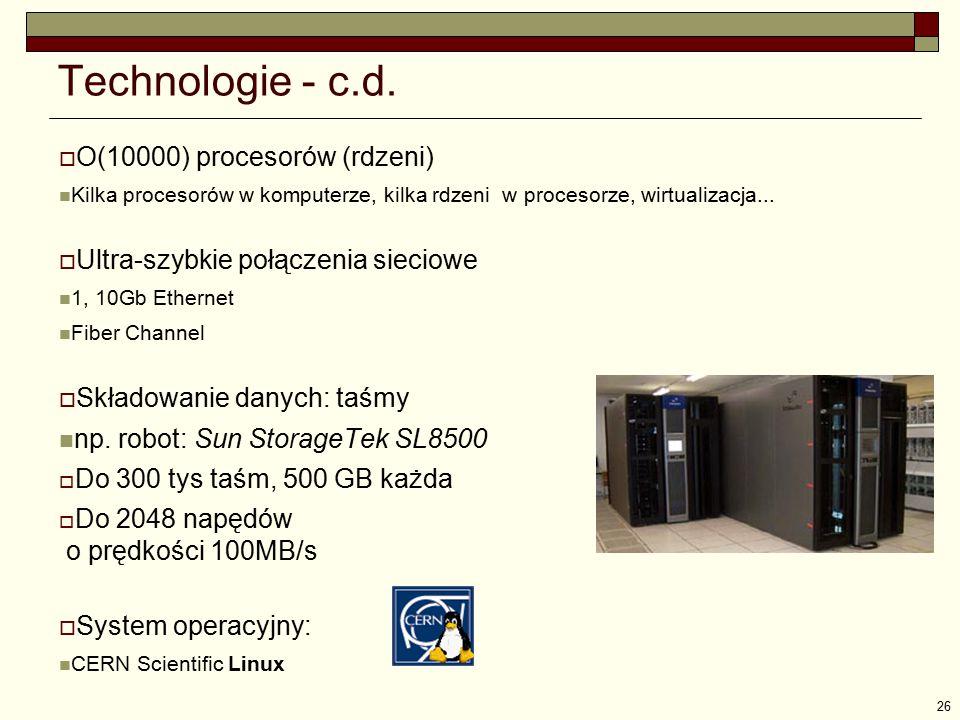 26 Technologie - c.d.  O(10000) procesorów (rdzeni) Kilka procesorów w komputerze, kilka rdzeni w procesorze, wirtualizacja...  Ultra-szybkie połącz