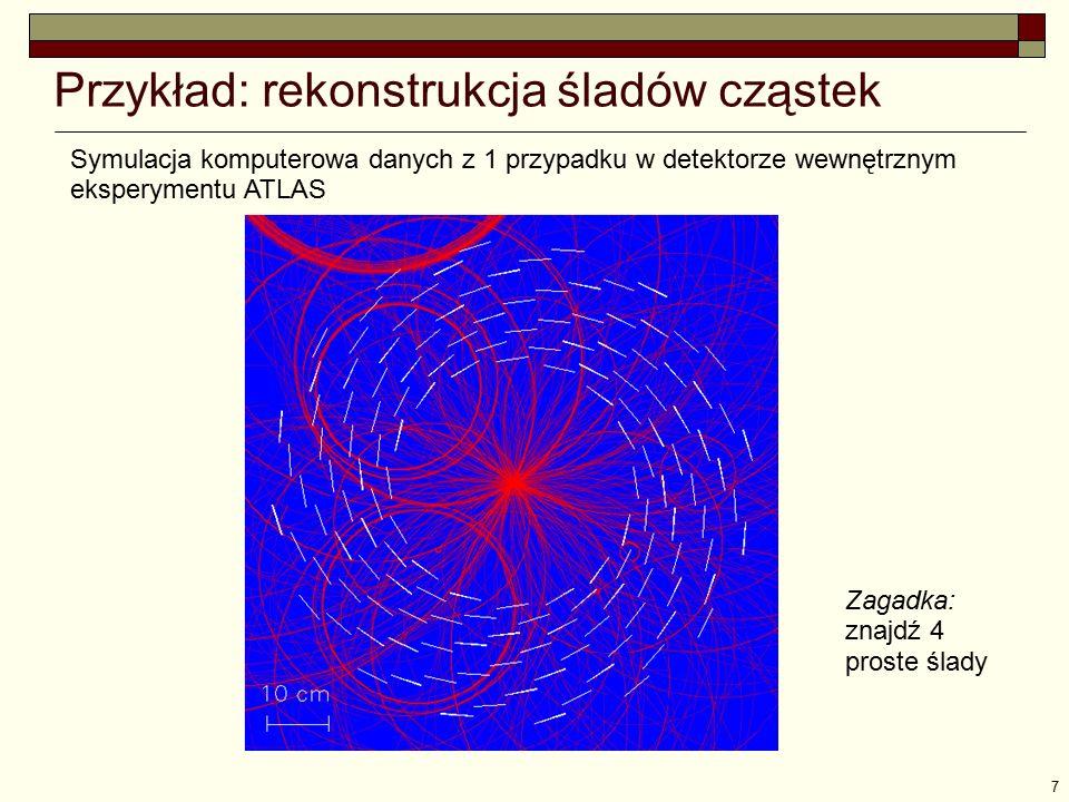 7 Przykład: rekonstrukcja śladów cząstek Symulacja komputerowa danych z 1 przypadku w detektorze wewnętrznym eksperymentu ATLAS Zagadka: znajdź 4 pros