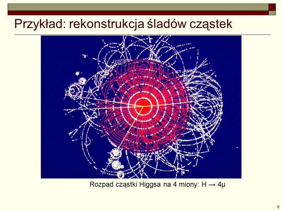 8 Przykład: rekonstrukcja śladów cząstek Rozpad cząstki Higgsa na 4 miony: H → 4μ