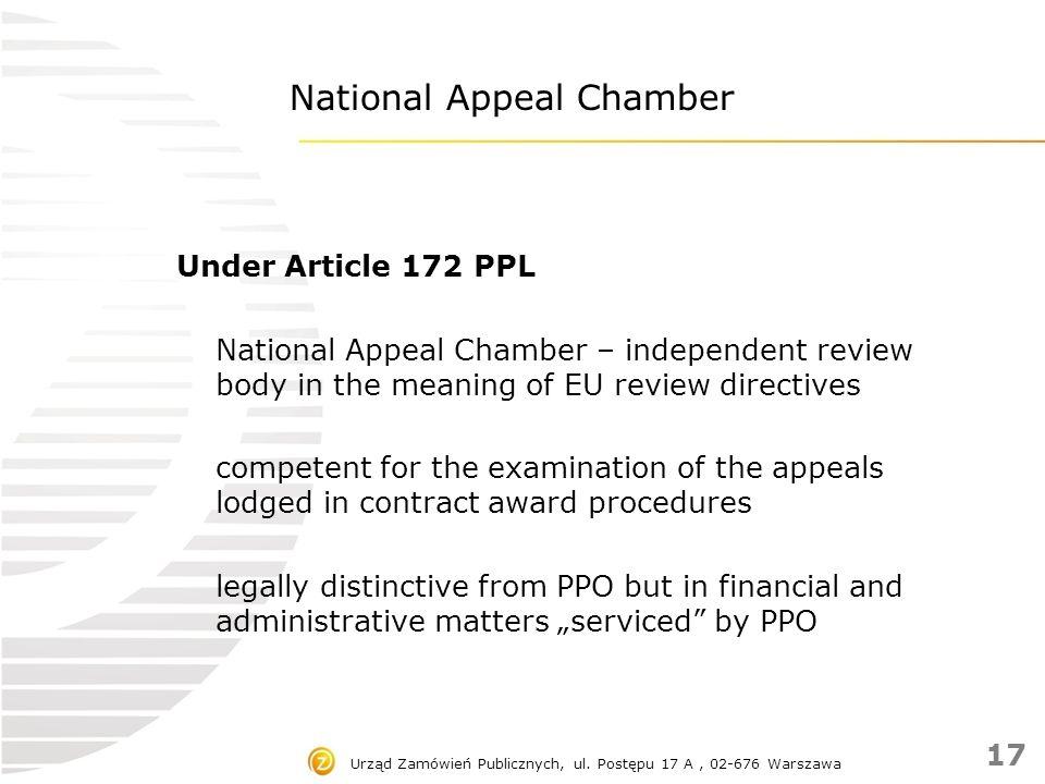 Urząd Zamówień Publicznych, ul. Postępu 17 A, 02-676 Warszawa National Appeal Chamber Under Article 172 PPL National Appeal Chamber – independent revi