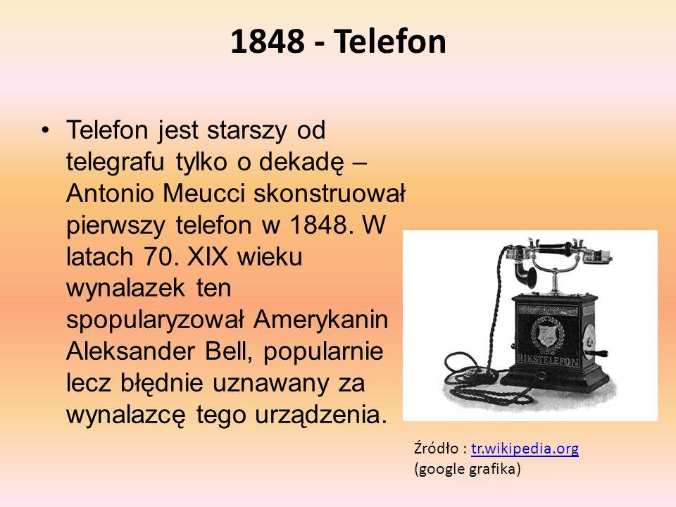 1848 - Telefon Telefon jest starszy od telegrafu tylko o dekadę – Antonio Meucci skonstruował pierwszy telefon w 1848. W latach 70. XIX wieku wynalaze