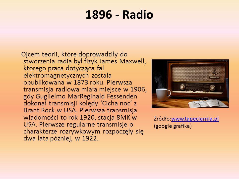 1896 - Radio Ojcem teorii, które doprowadziły do stworzenia radia był fizyk James Maxwell, którego praca dotycząca fal elektromagnetycznych została op