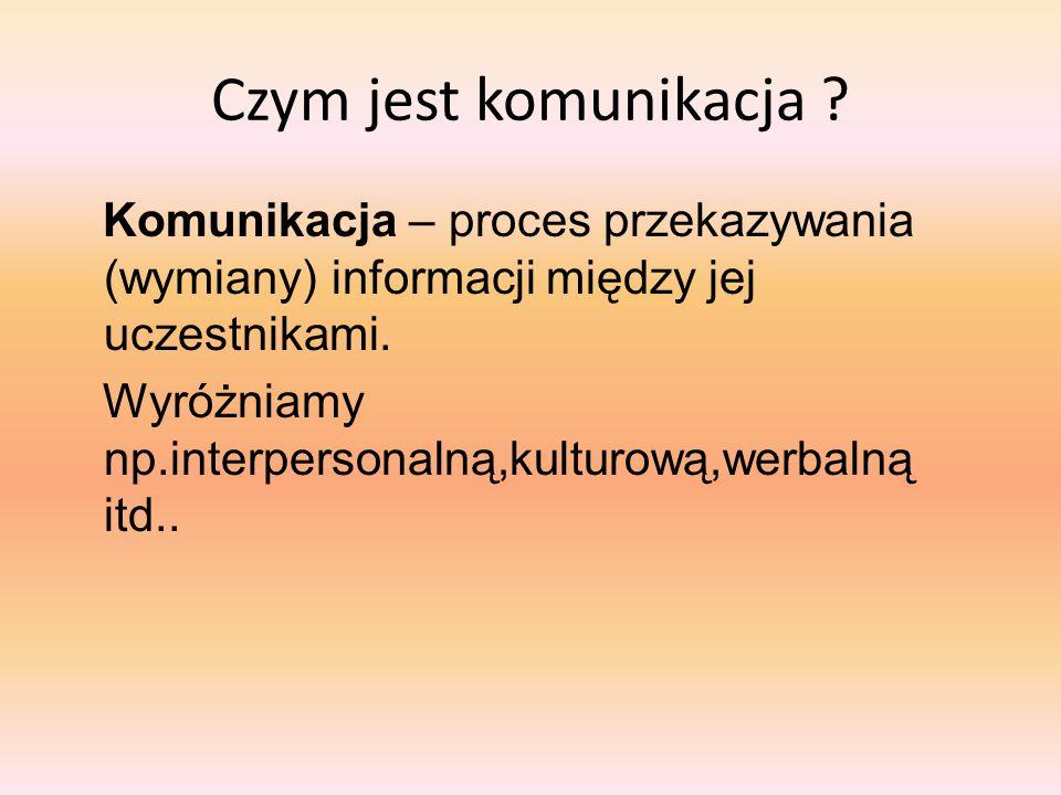 Czym jest komunikacja ? Komunikacja – proces przekazywania (wymiany) informacji między jej uczestnikami. Wyróżniamy np.interpersonalną,kulturową,werba