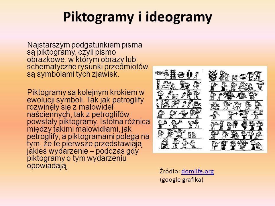 Piktogramy i ideogramy Najstarszym podgatunkiem pisma są piktogramy, czyli pismo obrazkowe, w którym obrazy lub schematyczne rysunki przedmiotów są sy