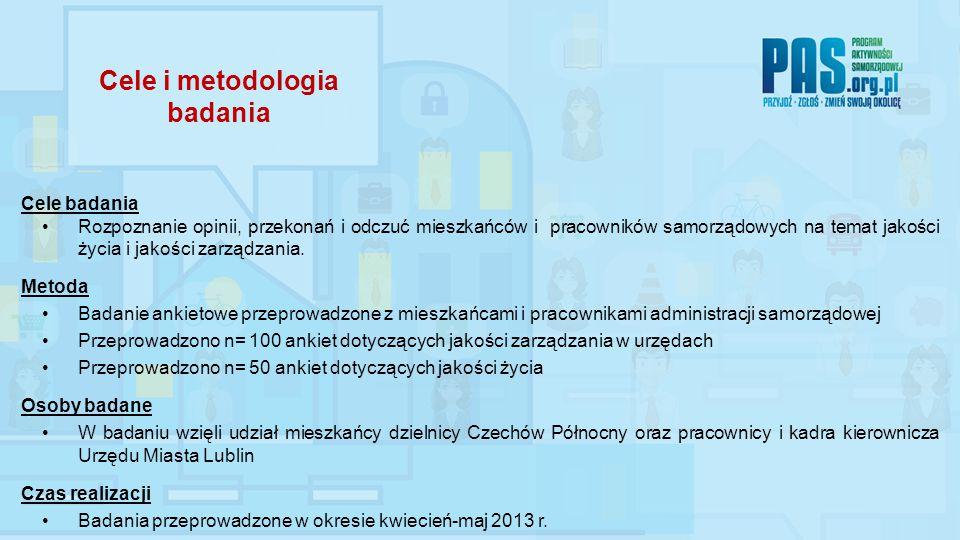 Cele i metodologia badania Cele badania Rozpoznanie opinii, przekonań i odczuć mieszkańców i pracowników samorządowych na temat jakości życia i jakości zarządzania.