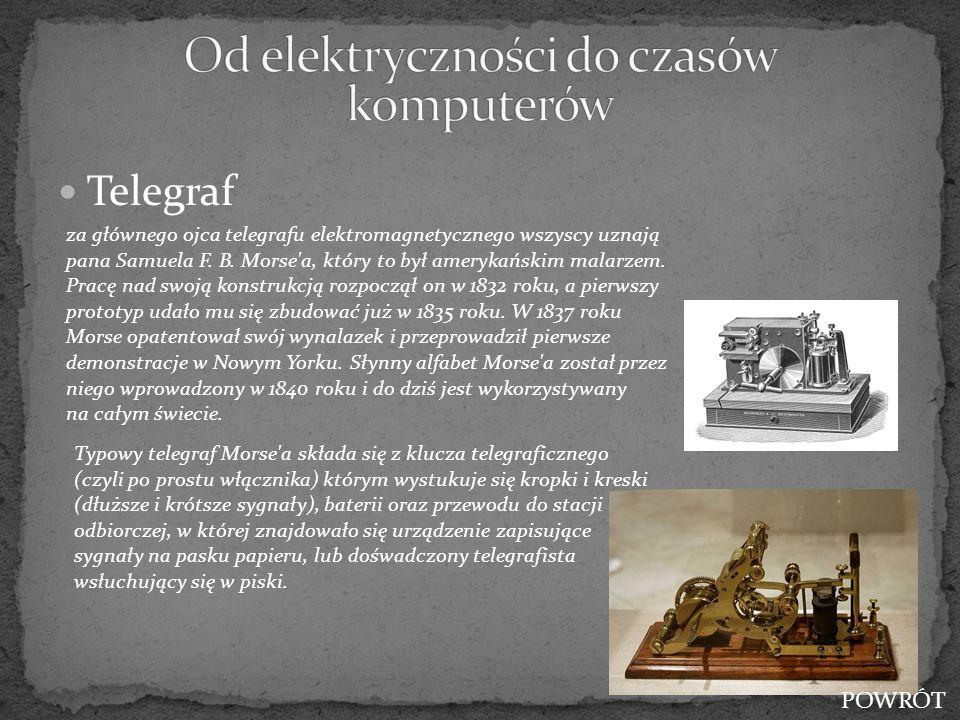 Telegraf za głównego ojca telegrafu elektromagnetycznego wszyscy uznają pana Samuela F. B. Morse'a, który to był amerykańskim malarzem. Pracę nad swoj