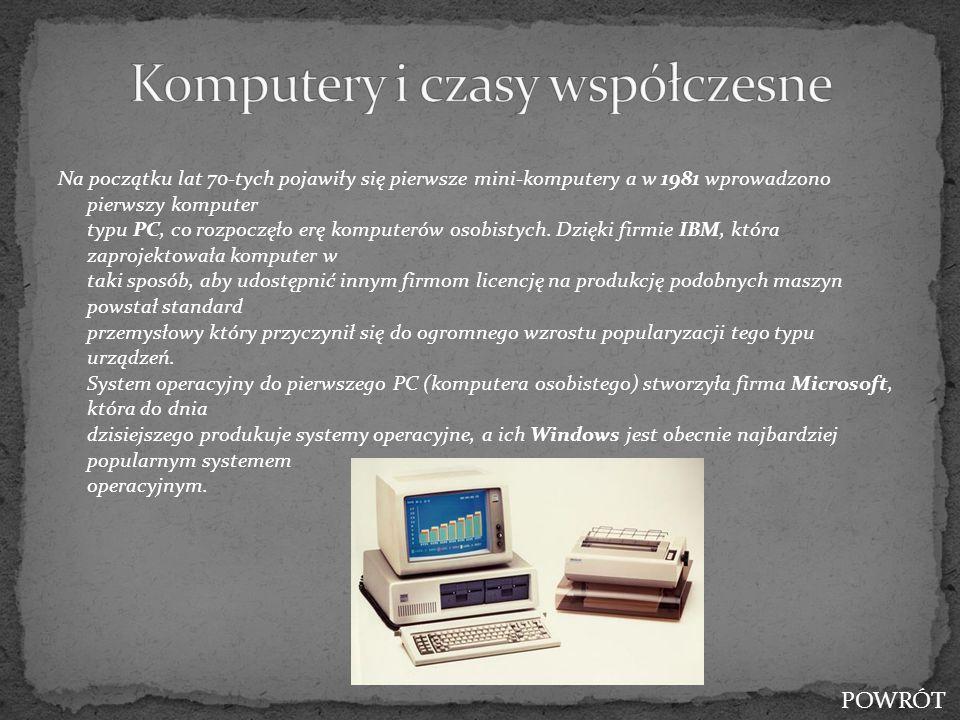 Na początku lat 70-tych pojawiły się pierwsze mini-komputery a w 1981 wprowadzono pierwszy komputer typu PC, co rozpoczęło erę komputerów osobistych.
