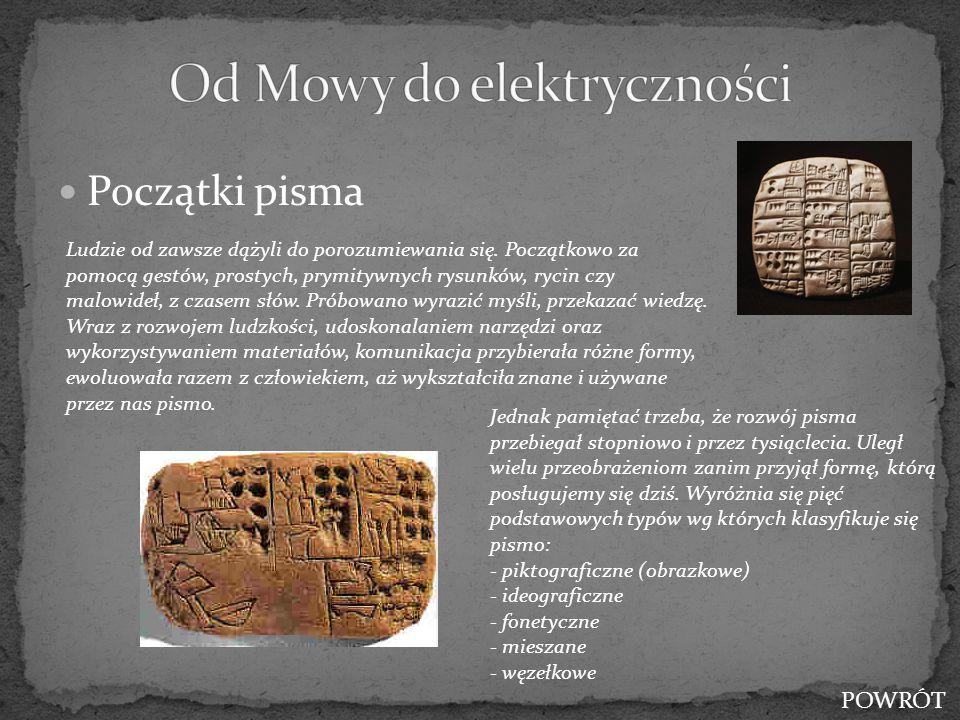 Początki pisma Ludzie od zawsze dążyli do porozumiewania się. Początkowo za pomocą gestów, prostych, prymitywnych rysunków, rycin czy malowideł, z cza