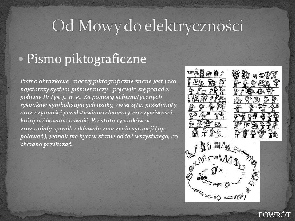 Pismo piktograficzne Pismo obrazkowe, inaczej piktograficzne znane jest jako najstarszy system piśmienniczy - pojawiło się ponad 2 połowie IV tys. p.
