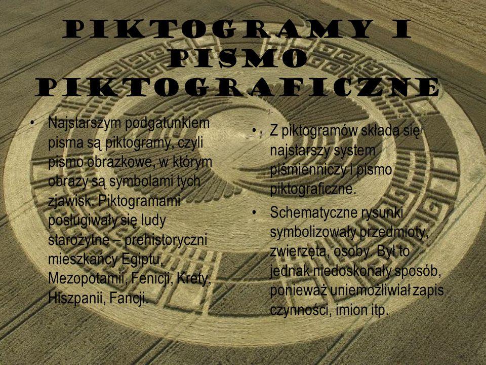 PIKTOGRAMY I PISMO PIKTOGRAFICZNE Najstarszym podgatunkiem pisma są piktogramy, czyli pismo obrazkowe, w którym obrazy są symbolami tych zjawisk. Pikt