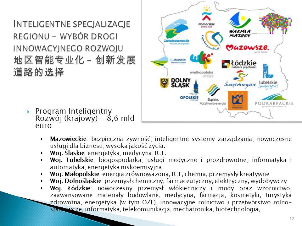  Program Inteligentny Rozwój (krajowy) - 8,6 mld euro 12 Mazowieckie: bezpieczna żywność; inteligentne systemy zarządzania; nowoczesne usługi dla biznesu; wysoka jakość życia.