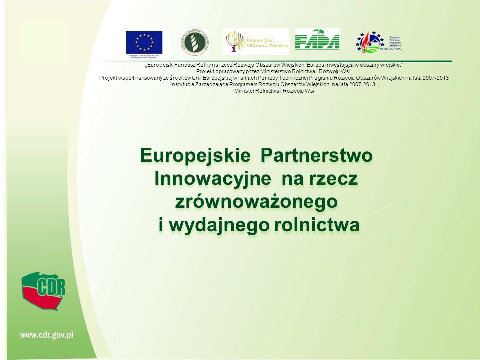CENTRUM DORADZTWA ROLNICZEGO W BRWINOWIE 2 Plan prezentacji 1.Wprowadzenie 2.Innowacyjność w politykach UE 3.Pojęcie i rodzaje innowacji 4.Europejski Punkt Partnerstwa ( EIP) 5.Finansowanie sieci tematycznych oraz projektów badawczych 6.Horyzont 2020 7.Podsumowanie