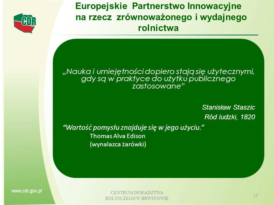 CENTRUM DORADZTWA ROLNICZEGO W BRWINOWIE 14 Europejskie Partnerstwo na rzecz Innowacji Funkcje sieci EIP Wzajemne działania polityki Rozwoju Obszarów Wiejskich oraz Europejskiego Programu na rzecz Badań i Innowacji Gromadzenie odpowiednich informacji (bazy danych, listy projektów, itp.) Zapewnienie skutecznego przepływu informacji i doradztwa w kwestii możliwości oferowanych przez polityki UE Wymiana najlepszych praktyk i badań towarzyszących Systematyczny przekaz oczekiwań (potrzeb) praktyki do nauki; Wymiana z Platformami Technologicznych (EPT), Sieciami Obszarów Badawczych (ERA-NET), Wspólnymi Inicjatywami Programowania, itp.