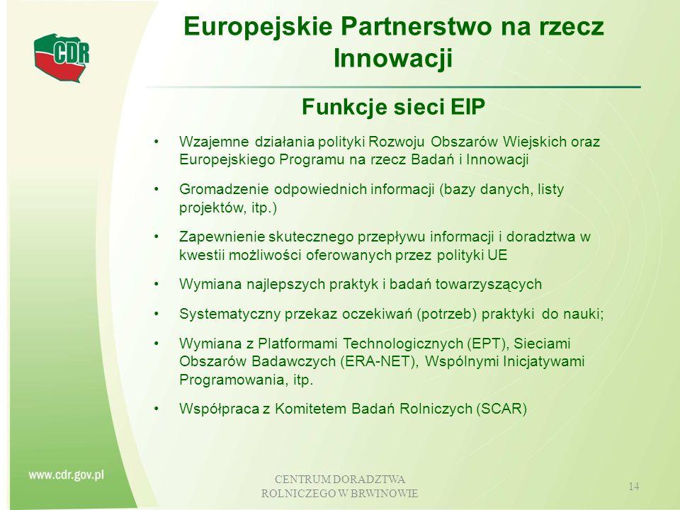 CENTRUM DORADZTWA ROLNICZEGO W BRWINOWIE 15 Europejskie Partnerstwo na rzecz Innowacji Cele EIP wg Rozporządzenia w sprawie Rozwoju Obszarów Wiejskich (art.