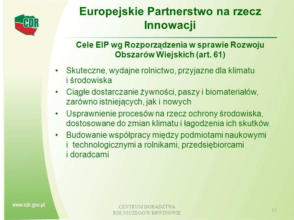 CENTRUM DORADZTWA ROLNICZEGO W BRWINOWIE 16 Europejskie Partnerstwa na rzecz Innowacji Sieć EIP