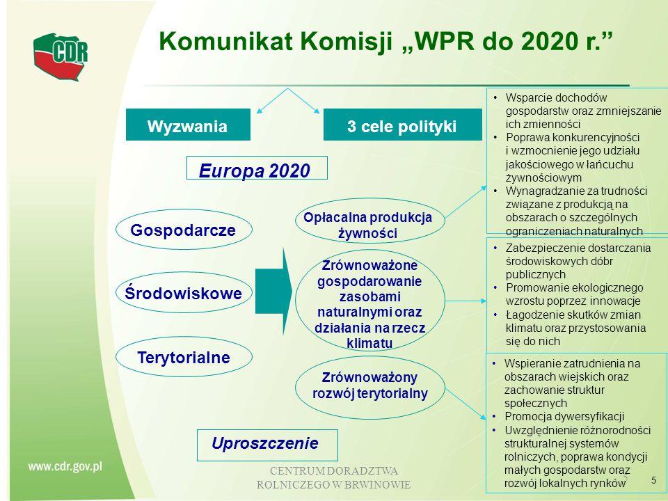 CENTRUM DORADZTWA ROLNICZEGO W BRWINOWIE 6 WPR a innowacje W Programie Rozwoju Obszarów Wiejskich na lata 2014 - 2020 przyjęto, że wszystkie projekty wspierane w ramach poszczególnych działań będą innowacyjne i będą przyczyniać się do poprawy konkurencyjności polskiego rolnictwa i leśnictwa z dbałością o ochronę środowiska.