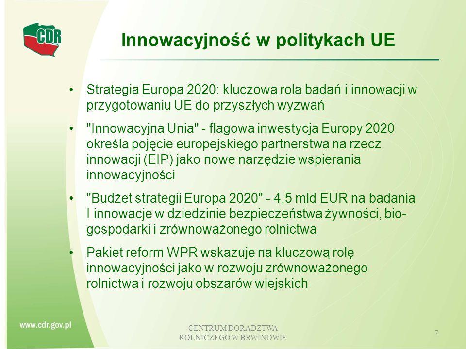 """CENTRUM DORADZTWA ROLNICZEGO W BRWINOWIE 8 Pojęcie i cechy innowacji Definicje i klasyfikacje innowacji """" Innowacja to wprowadzenie nowego lub znacząco udoskonalonego produktu (wyrobu czy usługi) lub procesu, nowej metody marketingowej lub nowej metody organizacyjnej w praktyce gospodarczej, organizacji miejsca pracy lub stosunkach z otoczeniem - [OECD 2005] (PROW 2014 – 2020) INNOWACJE – zastosowanie lub wprowadzenie nowych lub ulepszonych produktów, procesów (technologii), metod organizacji lub marketingu poprzez praktyczne wykorzystanie"""
