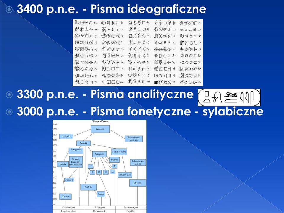  3400 p.n.e. - Pisma ideograficzne  3300 p.n.e. - Pisma analityczne  3000 p.n.e. - Pisma fonetyczne - sylabiczne