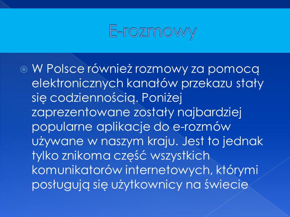  W Polsce również rozmowy za pomocą elektronicznych kanałów przekazu stały się codziennością. Poniżej zaprezentowane zostały najbardziej popularne ap