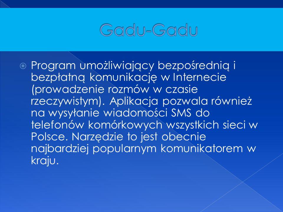 Program umożliwiający bezpośrednią i bezpłatną komunikację w Internecie (prowadzenie rozmów w czasie rzeczywistym). Aplikacja pozwala również na wys