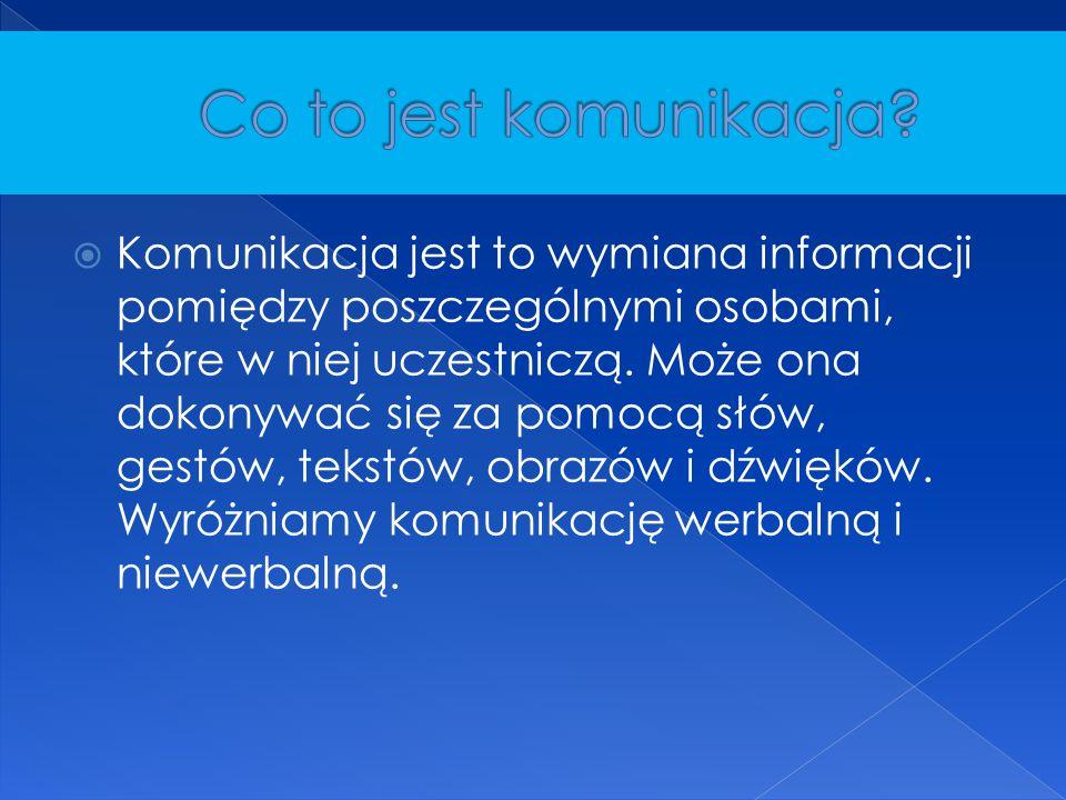  Komunikacja jest to wymiana informacji pomiędzy poszczególnymi osobami, które w niej uczestniczą. Może ona dokonywać się za pomocą słów, gestów, tek