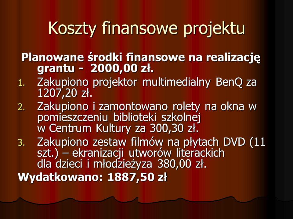 Koszty finansowe projektu Planowane środki finansowe na realizację grantu - 2000,00 zł. Planowane środki finansowe na realizację grantu - 2000,00 zł.
