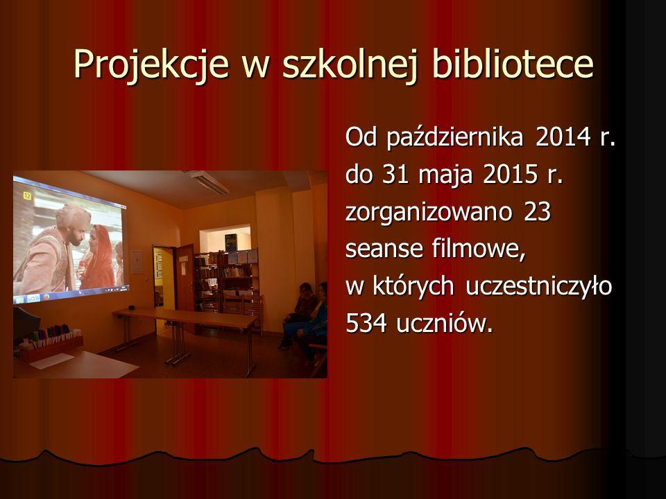 Projekcje w szkolnej bibliotece Od października 2014 r. do 31 maja 2015 r. zorganizowano 23 seanse filmowe, w których uczestniczyło 534 uczniów.