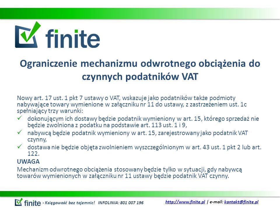 Ograniczenie mechanizmu odwrotnego obciążenia do czynnych podatników VAT Nowy art.