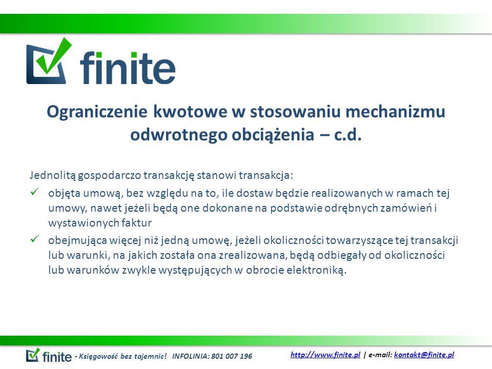 Ograniczenie kwotowe w stosowaniu mechanizmu odwrotnego obciążenia – c.d.