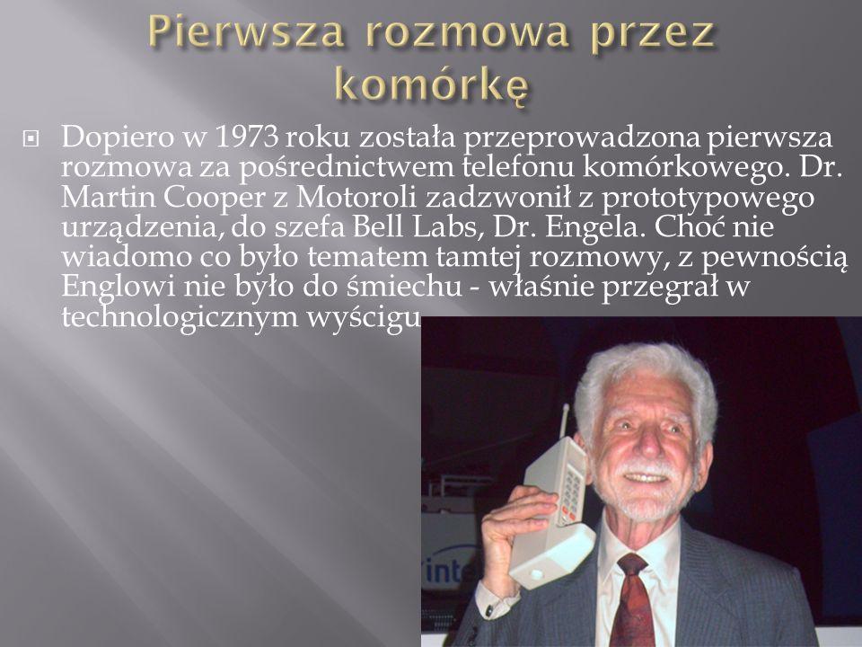  Dopiero w 1973 roku została przeprowadzona pierwsza rozmowa za pośrednictwem telefonu komórkowego.