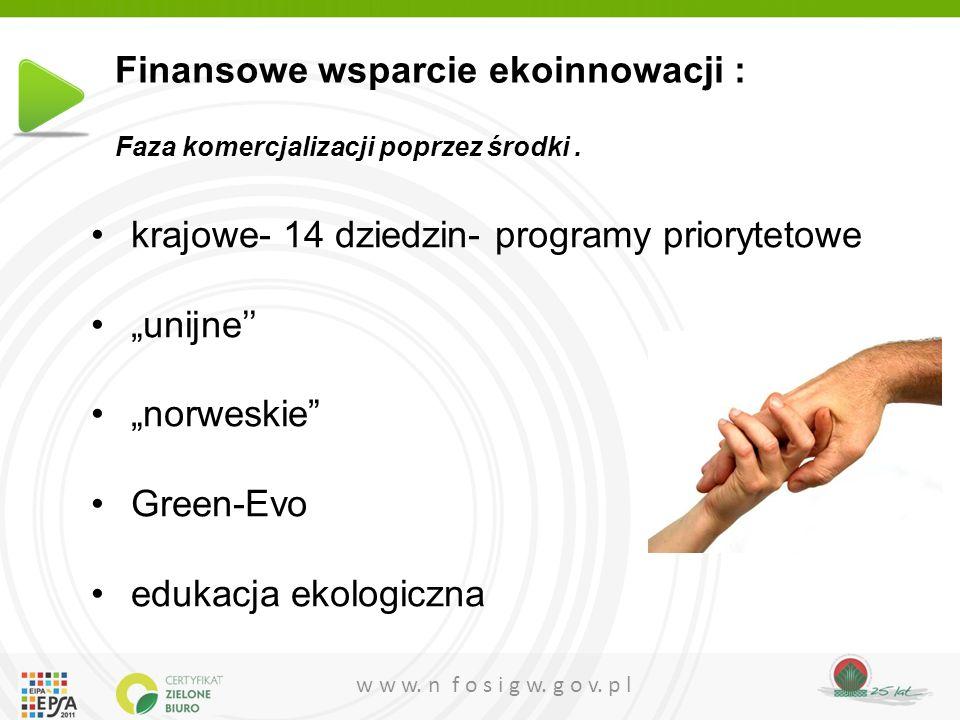"""w w w. n f o s i g w. g o v. p l krajowe- 14 dziedzin- programy priorytetowe """"unijne'' """"norweskie"""" Green-Evo edukacja ekologiczna Finansowe wsparcie e"""