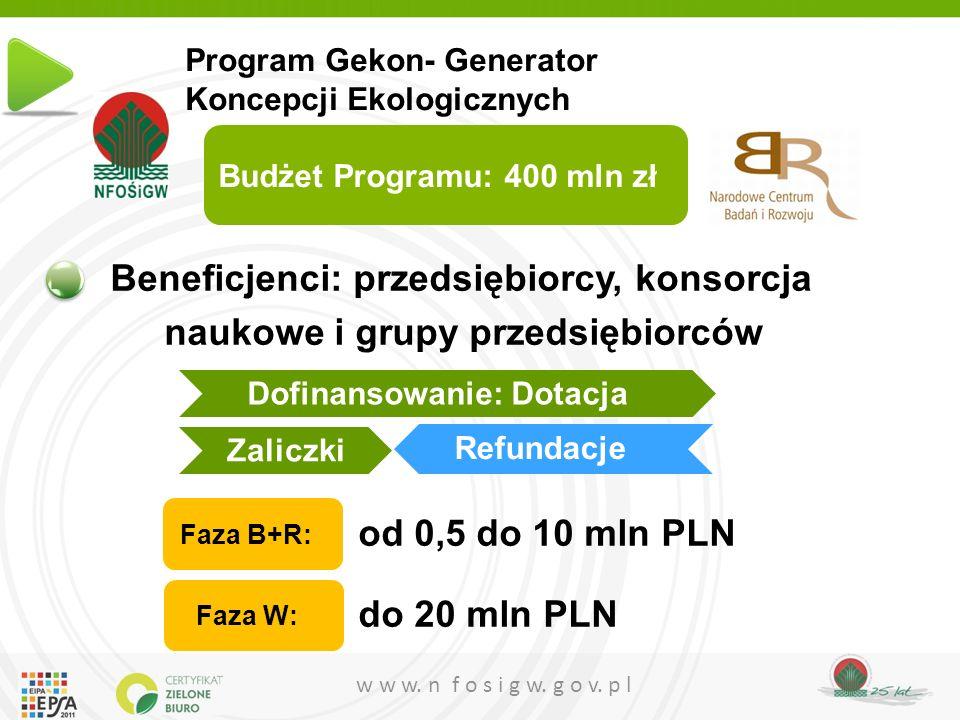 w w w. n f o s i g w. g o v. p l Beneficjenci: przedsiębiorcy, konsorcja naukowe i grupy przedsiębiorców od 0,5 do 10 mln PLN do 20 mln PLN Faza B+R: