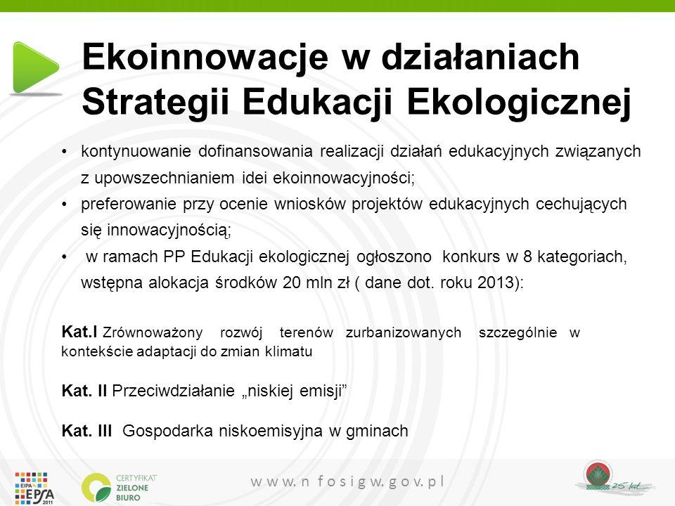 w w w. n f o s i g w. g o v. p l Ekoinnowacje w działaniach Strategii Edukacji Ekologicznej kontynuowanie dofinansowania realizacji działań edukacyjny