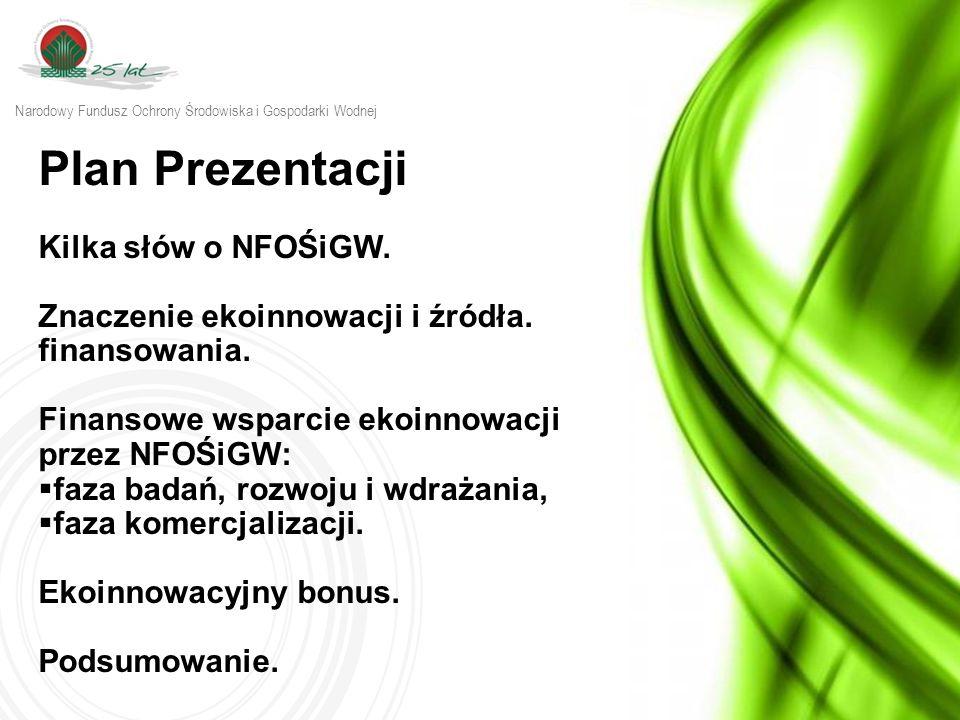 Plan Prezentacji Kilka słów o NFOŚiGW. Znaczenie ekoinnowacji i źródła. finansowania. Finansowe wsparcie ekoinnowacji przez NFOŚiGW:  faza badań, roz