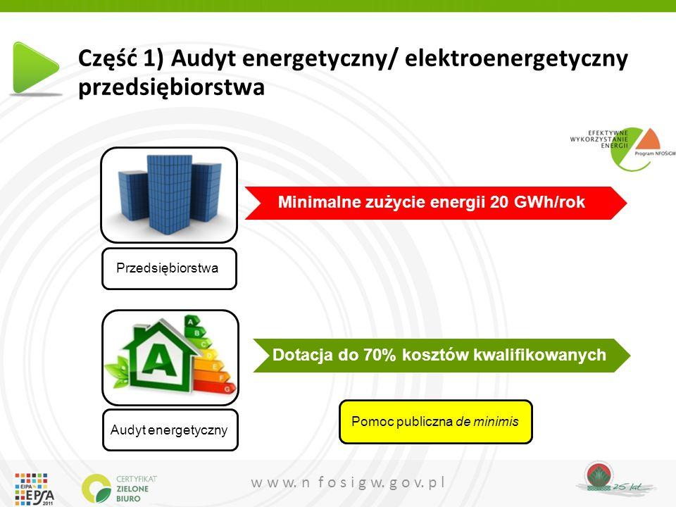 w w w. n f o s i g w. g o v. p l Część 1) Audyt energetyczny/ elektroenergetyczny przedsiębiorstwa Przedsiębiorstwa Minimalne zużycie energii 20 GWh/r